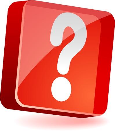 help button: Question 3d icon. Vector illustration.