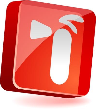 Extinguisher 3d icon. Vector illustration.