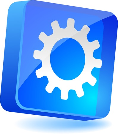 icon 3d: Gear 3d icon. Vector illustration.