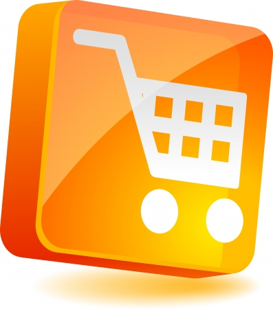 carts: Shopping 3d icon. Vector illustration.  Illustration