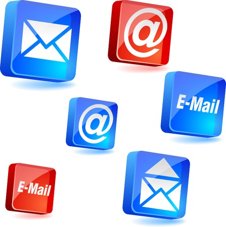 arroba: E-mail 3d icons. Vector illustration.