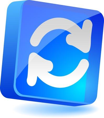 Refresh 3d icon. Vector illustration.  Vector