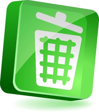 Recycle bin 3d icon. Vector illustration. Stock Vector - 4939985