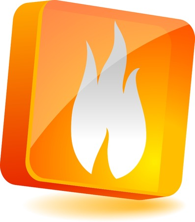 Flame 3d icon. Vector illustration.  Stock Vector - 4979584