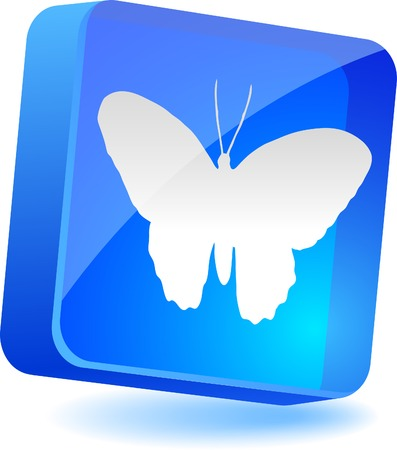Butterfly 3d icon. Vector illustration.  Vector