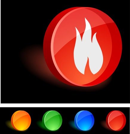 Flame 3d icon. Vector illustration.  Vector