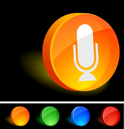 Microphone 3d icon. Vector illustration.  Stock Vector - 5124686
