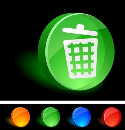 Recycle bin 3d icon. Vector illustration. Stock Vector - 5155116