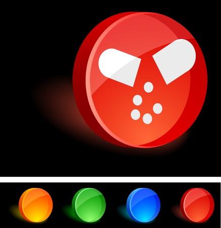 Pill 3d icon. Vector illustration.  Vector