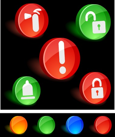 Security 3d icons. Vector illustration.  Vector