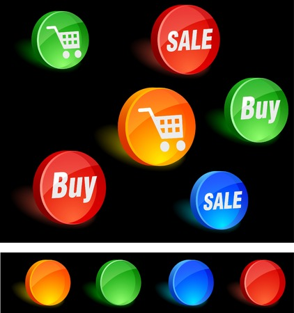 Shopping 3d icons. Vector illustration. Stock Vector - 5174229