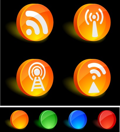 Rss 3d icons. Vector illustration. Stock Vector - 5174228