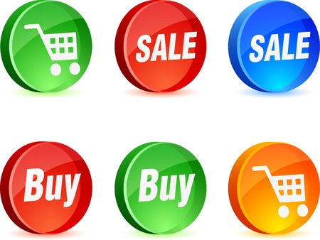 Shopping 3d icons. Vector illustration.  Vector