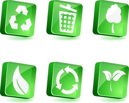 Ecology 3d icons. Vector illustration.  Vector