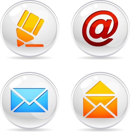 arroba: Mail 3d icons. Vector illustration.