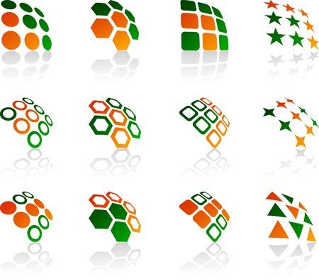 hexagon: Abstract company symbols. Vector illustration.
