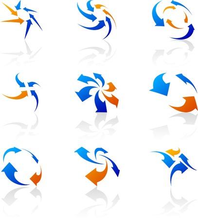 directions: Kort bedrijf symbolen. Vector illustratie.