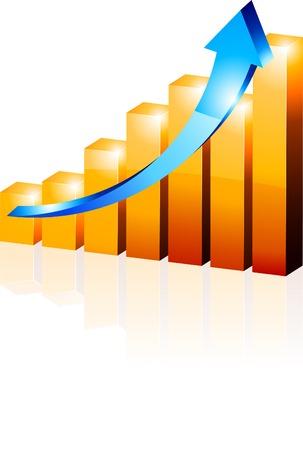 grafica de barras: 3d crecimiento diagrama. Ilustración vectorial.