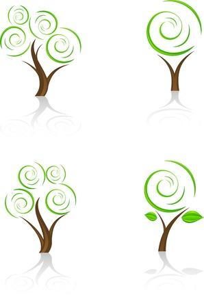 Conjunto de árboles icono. Vector.