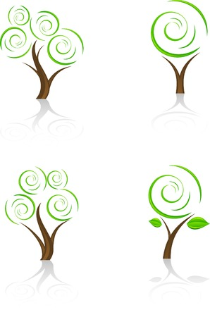 leaves vector: Set of tree icon. Vector.