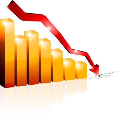 profit and loss: Crisi schema concettuale. Vector illustration. Vettoriali
