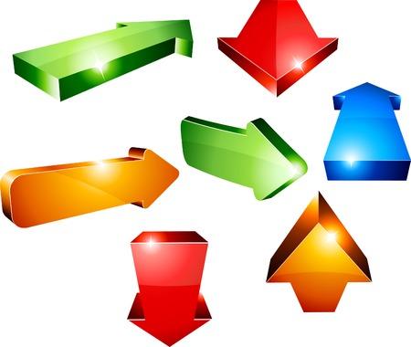 Shiny 3d arrows. Vector illustration.  Stock Vector - 5219965