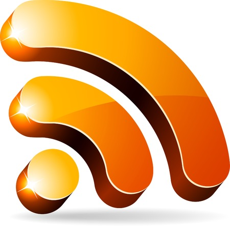 rss: 3d rss symbol. Vector illustration.