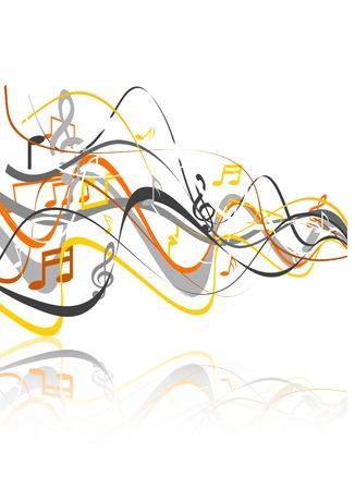 Wavy music background. Vector illustration.  Stock Vector - 5255774