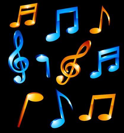 luminous: Luminous music tones. Vector illustration.
