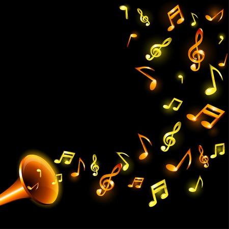 Luminous music background. Vector illustration.