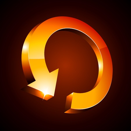refreshing: Orange luminous arrow. Vector illustration.
