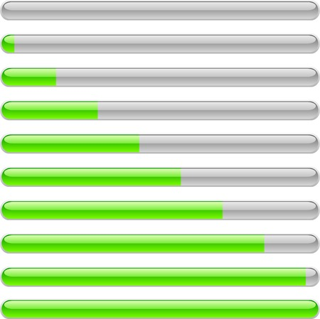 Green progress indicators. Vector illustration.