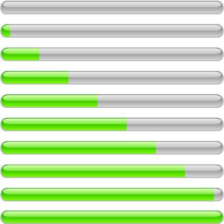 Groene voortgangsindicatoren. Vector illustratie.
