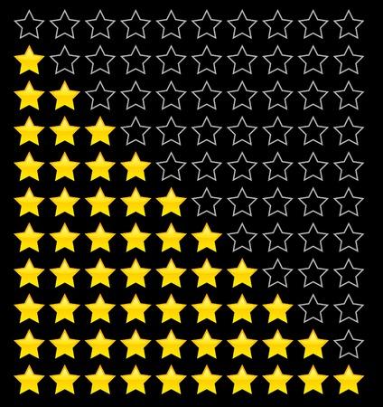 evaluacion: Nota estrellas amarillas. Ilustraci�n vectorial.
