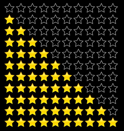 rated: Yellow rating stars. Vector illustration.