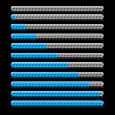 Blue progress indicators. Vector illustration.