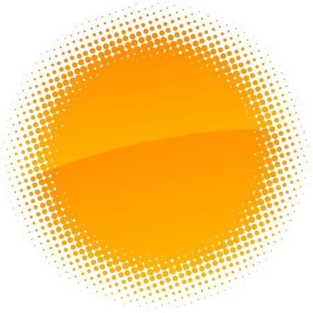 Orange halftone sun. Vector illustration.  Vector