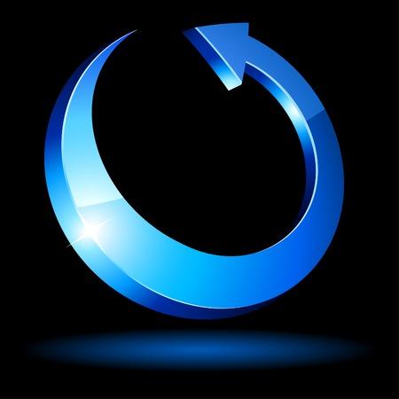 La flecha azul luminoso. Ilustración del vector.
