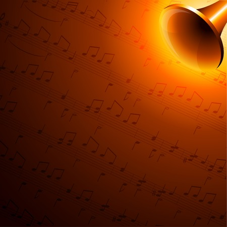 trumpet vector: Luminous music background. Vector illustration.