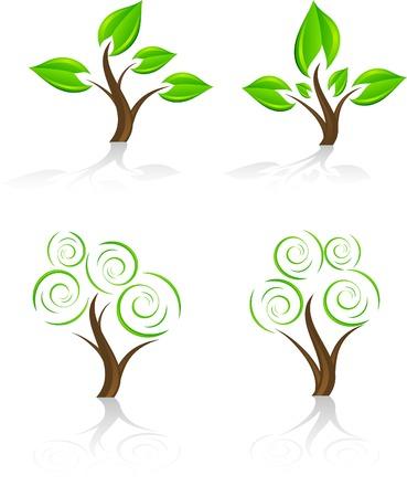 vector icon: Set of tree icon. Vector.
