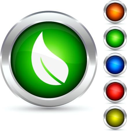 Ecology detailed button. Vector illustration.  Vector