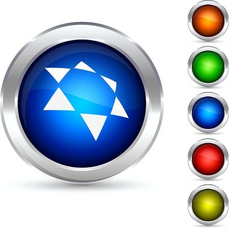 Star detailed button. Vector illustration. Stock Vector - 5298562