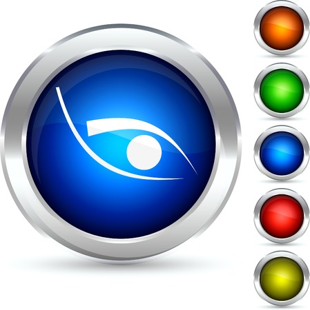 Eye detailed button. Vector illustration. Stock Vector - 5298555