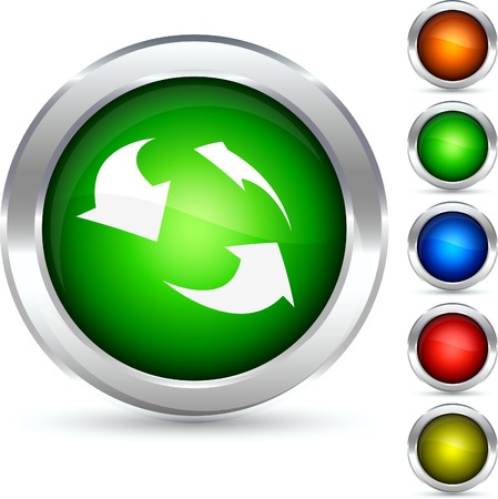 Recycling detailed button. Vector illustration. Stock Vector - 5298564