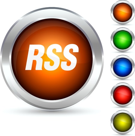 Rss detailed button. Vector illustration.  Stock Vector - 5298568