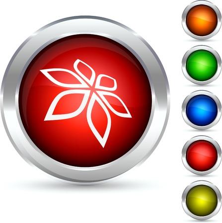 Flower detailed button. Vector illustration.  Stock Vector - 5298566