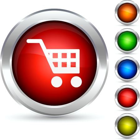 Shopping detailed button. Vector illustration.  Vector