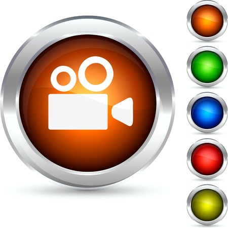 video cameras: Cinema detailed button. Vector illustration.