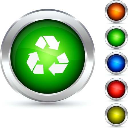 Recycling detailed button. Vector illustration.  Stock Vector - 5304220