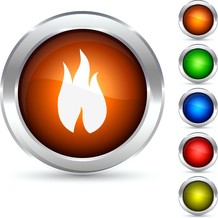 Fire detailed button. Vector illustration.  Vector